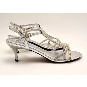 Silver Slipper Flash Rhinestone Low Rise Heels